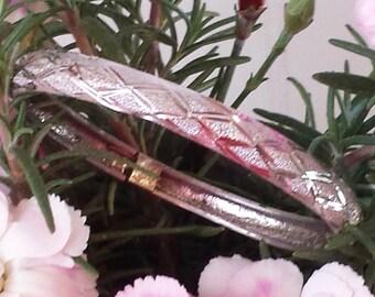 Vintage Sterling Silver Bangle Bracelet Diamond Pattern