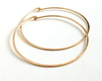 X-Large Gold Round Hoops Earrings. Hand Hammered Shiny Extra Large Gold Hoops.