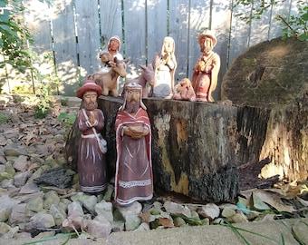 8 Piece Vintage Peruvian Nativity Set