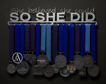 She Believed She Could So She Did - Text Only - Allied Medal Hanger Holder Display Rack