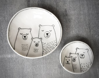 Family Bear and Cat trinket dish - Doodle Range Plate
