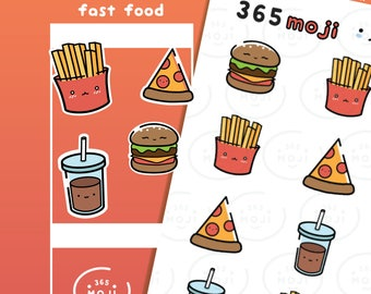 Fast Food Planner Stickers, Junk Food Stickers, Fries Burgers Cola Pizza, Food Stickers, Restaurant Stickers | R114
