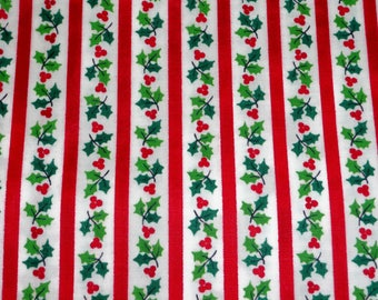 VIP Cranston Printworks Holly Red Striped Print 1/2 YD