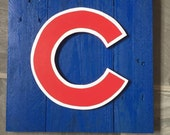 Rustic Chicago Cubs Cubbies Decorative Wood Sign