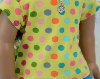 American Girl or 18 inch Doll TEE Top Blouse SHIRT in Yellow with Multicolor Polka Dots with Shorts  Options with Surprise NECKLACE