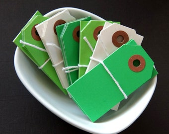 "30 Mini Colored Shipping Tags . Saint Patrick's Mix of Green, Lt. Green & White . 2.75"" x 1.375"""