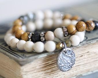 River Stone, Creamy White, Stretch Bracelet, Stacking Bracelet, Sterling Silver Charm, Czech Glass, Beaded Bracelet, Gemstone Bracelet, 8mm