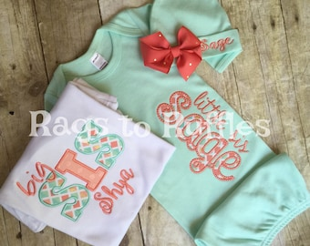 Baby Girl Coming Home Gown- Personalized Baby Girl Gown- Big Sister Personalized Gown- Big Sis Monogrammed Shirt - Monogrammed Baby Gown