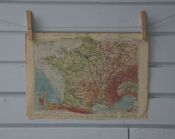 1939 Vintage Map of France