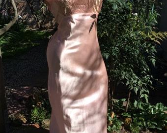 1940's Vintage Pink Rayon Satin Nightgown~Bias Cut~Ecru Lace~Bridal