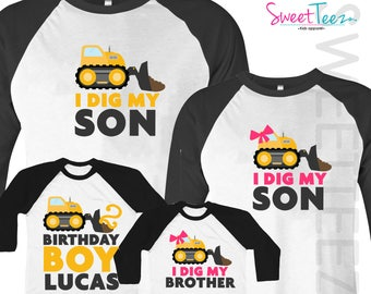 Mom of the Birthday Boy Dad of the Birthday Boy Siblings and 1st Birthday Shirt Construction Birthday Shirts on BLACK Shirts, 5 Shirt Set