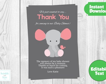 Printable Personalised Baby Shower, Pink, Girl Baby Shower Thank You Card, Printable, Instant Download, DIY Thank You Card.