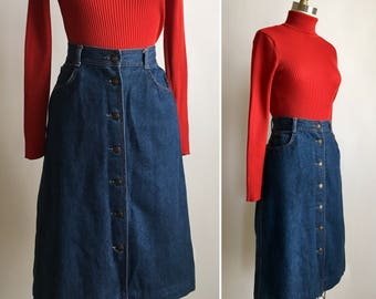 70s denim skirt M ~ vintage button down skirt