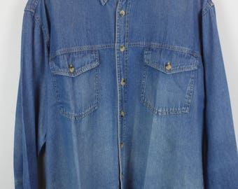 Vintage jeans shirt - Mauro Ferrini - long sleeves - oversized