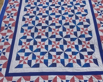 Americana Pinwheel Quilt in Red White and Blue