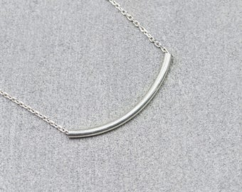 Simple Silver Curved Bar Necklace