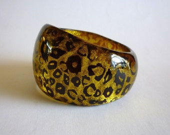 Vintage Gold Black Animal Print Bangle, 1980s Wide Cuff Bracelet