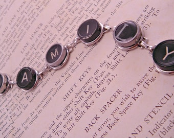 Vintage Typewriter Key Bracelet FAMILY on 7 Inch Bracelet Form