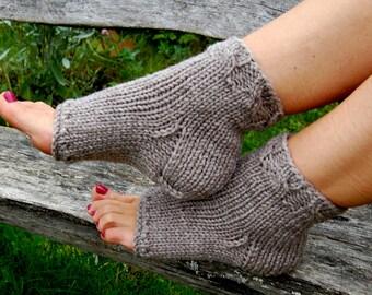 Hand Knit Toeless Socks, Flip Flop Socks, Cable Knit Socks, Heel Socks,Knit Yoga Socks, Dance Socks, Spats, Knit Socks for Pedicure