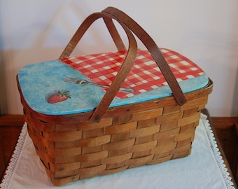 Wood Picnic Basket with Painted Lid, Trompe D'Oeil Painting Tablecloth Fork Strawberry, Woven Wood Splint, Cabin Farmhouse Rustic Chic
