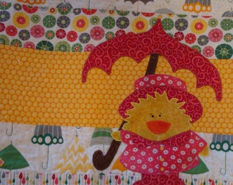 Rainy Day Duck Handmade Lap Quilt - Duck with Pink Umbrella, Raincoat and Galoshes