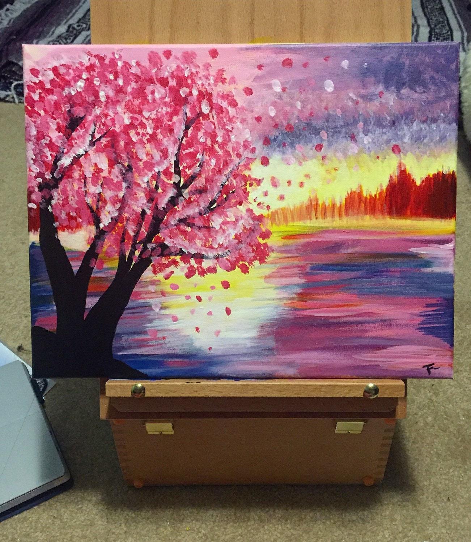 Paisaje de cerezos en flor en el lago árbol de flor de
