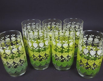 Vintage 60's Glasses Tumblers Set of 7 Green White Yellow 70's Floral Flower Print 5 Inch Tall Retro Mod Hippie Bar