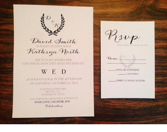 Navy & Grey Wreath Wedding Invitation, Wreath Wedding invitation, Navy wedding invitation