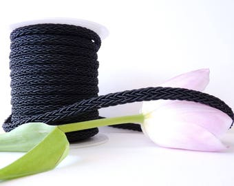 50 cm cord woven 7 x 4 mm - black (OA0104)