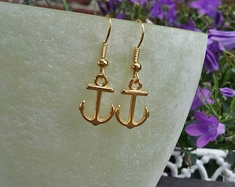 gilded earrings, anchor earrings, maritime earrings, anchor jewelry, beach style, boho jewelry, present, earrings with anchor, anchor