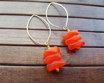 Orange Sea Glass Earrings, Orange Earrings, Sea Glass Jewelry, Boho Jewelry, Beach Glass Jewelry, Saki Earrings