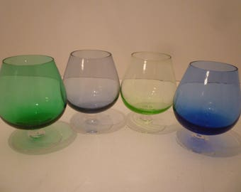 LIQUEUR / CORDIAL GLASSES. Set of Four Vintage 1950's Colored Stemware. Vintage Barware.