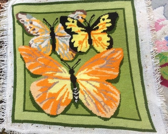 Vintage Needlepoint Butterflies - Retro Cool Colors and Style