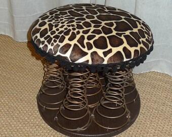 Pouf à ressort rembourré en mousse et tissu-fourrure girafe