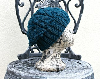 Hand knit Autumn Winter Hat / Beanie / Beret Cable Knit