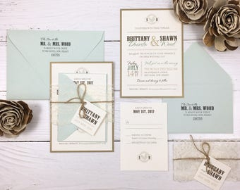 Rustic Wedding Invitations, Mint and Ivory Wedding Invitations, Seafoam and Ivory Wedding Invitations with Lace and Twine
