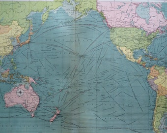 1920 The Pacific Ocean mercantile marine map - extra large original vintage map