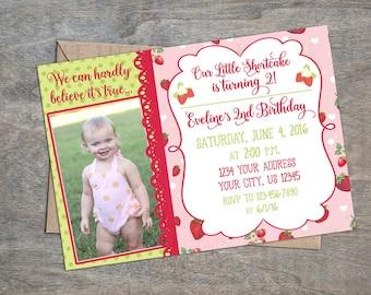 Strawberry Birthday Printable Invitation | Little Shortcake Invite