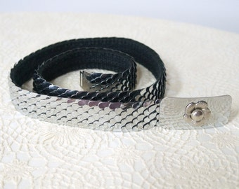 Vintage Belt Silvertone Scale Stretch Belt Flower Buckle Belt Cinch Belt Size Large