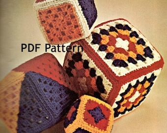 Granny Square Baby Blocks Crochet Pattern, in 4 Sizes, Hippie Motif, Vintage 1970's, PDF Instant, Digital Download