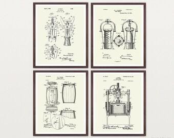 Inventions of Wine Patent Print Suite - Wine Patent - Wine Art - Wine Wall Art - Wine Decor - Wine Bar - Wine Rack - Cork Screw Wine Poster