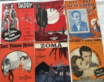 Vintage sheet music , fox trot, paper moon, waltz, epherema