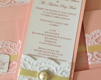 Flat Wedding/Evening Invitation | Vintage | Shabby Chic | Lace | Pearl