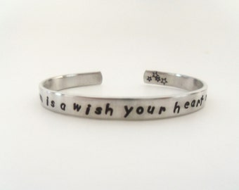 Inspirational Cuff Bracelet, A Dream is a Wish Your Heart Makes, Hand Stamped Bracelet, Daughters Gift, Graduation Gift, Customizable
