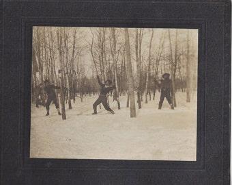 Staged Cowboy Shootout ~ Antique Cabinet Photo Cass Lake Minnesota