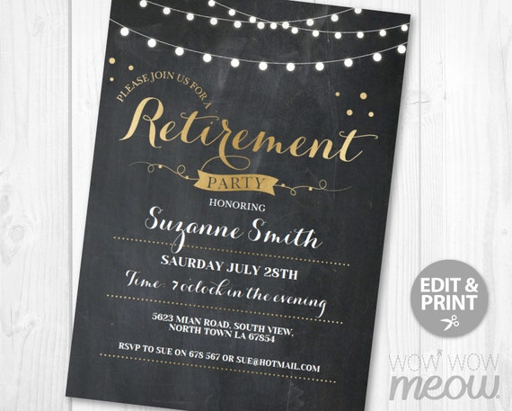 retirement invitation gold  u0026 black chalk retired invite