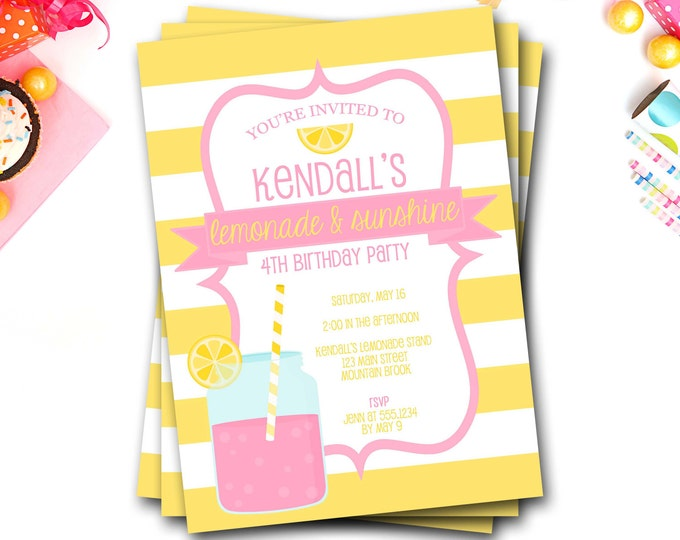 Pink Lemonade Birthday Invitation, Lemonade Invitation, Pink Lemonade, Pink And Yellow, Lemonade Invite, Girl Birthday, DIY Printable