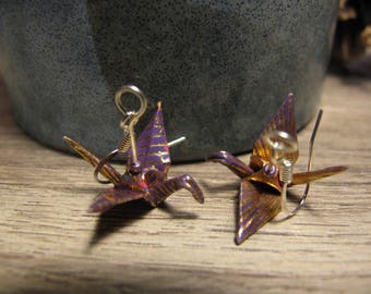 Origami paper cranes purple gold earrings