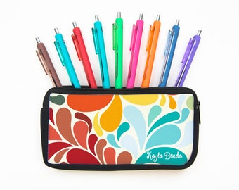 Custom Personalizeable Spring Swirls Pencil Case - BR60