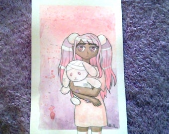 Pearlescent Watercolor Painting - Strawbunny